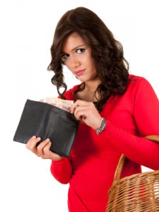 shopping girl with money