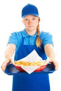 Teen Girl Serves Fast Food