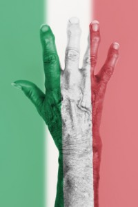 Old hand with flag, European Union, Italy