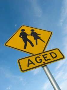 Aged persons warning sign