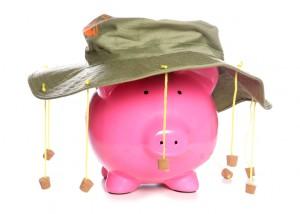 Piggy bank wearing an Australian cork hat