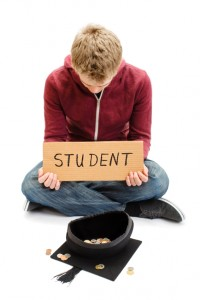 University Student Begging with Mortar Board - Education Costs