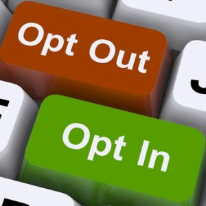 Opt In And Out Keys Shows Decision To Subscribe