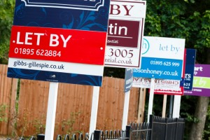 Estate agent signs advertising property to let in UK