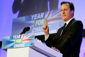 PERTH, SCOTLAND - FEBRUARY 12:  Conservative Party leader David Cameron addresses delegates at the Scottish Conservative Party spring conference on February 12, 2010 in Perth, Scotland. Cameron told the party faithful in Perth that they must work hard on securing votes in Scotland ahead of the forthcoming general election and to build new relationships between the British government and Scottish government.  (Photo by Jeff J Mitchell/Getty Images)