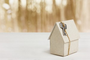model of cardboard house with key