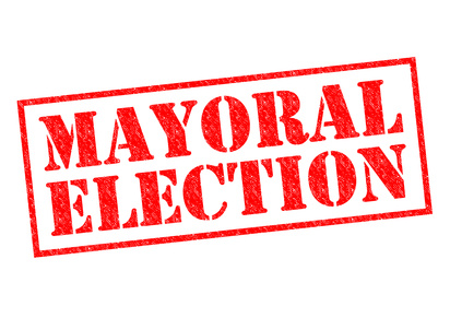 MAYORAL ELECTION red Rubber Stamp over a white background.