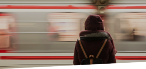 woman and passing train